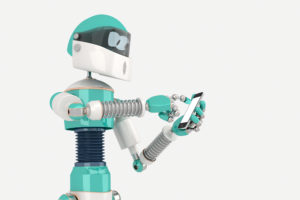 3962682 robot in pose with smart phone