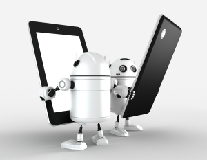 Two robots with blank tablet computers