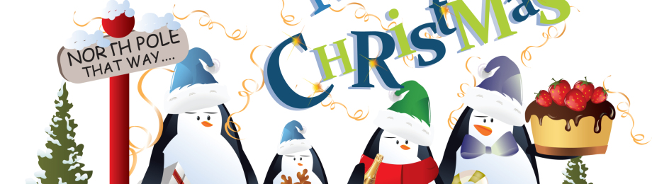 vector image of penguins wearing winter clothing with merry chri