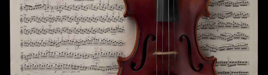 music sheets with violin
