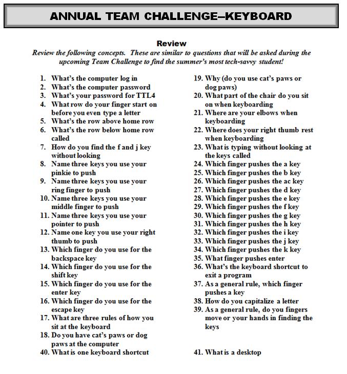 keyboard challenge questions   Ask a Tech Teacher