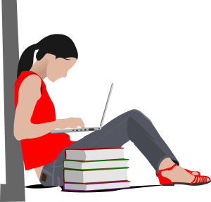 1047512 sitting girl with laptop and books column back to school
