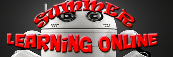 SUMMER learning online banner--robot