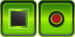 Digital image of green push button.